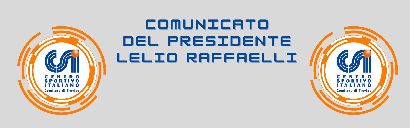 Comunicato del Presidente Lelio Raffaelli n°6 – Allenamenti Zona rossa